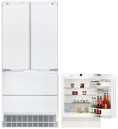 """2 Piece Kitchen Appliances Package with HCB2082 36"""" French Door Refrigerator and UR500 24"""" Built-In Compact Refrigerator in Panel"""