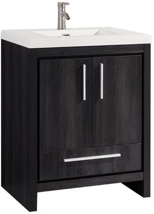 Miami Collection MTD-YBC306-24BW 24″ Single Sink Bathroom Vanity Set in Black