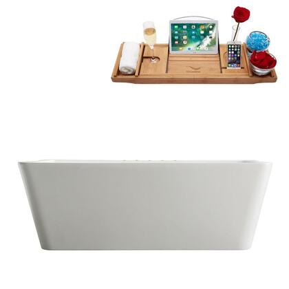 M-2040-67FSWH-DM 67″ Soaking Freestanding Tub and tray With Internal Drain in