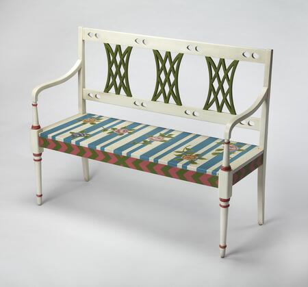 Fawcett Collection 0965381 Bench with Traditional Style  Rectangular Shape  Medium Density Fiberboard (MDF) and Rubberwood Solids in Alice In