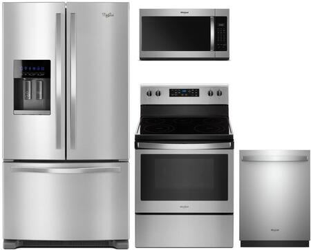 4 Piece Kitchen Appliances Package with WRF555SDFZ 36″  French Door Refrigerator  WFE505W0HZ 30″ Electric Range  WDT730PAHZ 24″ Built In Fully