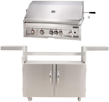SUN5B-IR-NG 42″ Sunstone Series Freestanding Natural Gas Grill with 5 Stainless Steel Burners  Rotisserie  Wind Guard  Drip Tray  Warming Rack  and