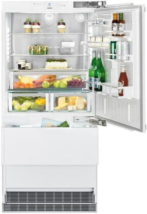 36″ Bottom Freezer Refrigerator with 84″ Height Door Panels and Tubular Handles in Stainless