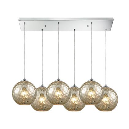 31380/6RC-MRC Watersphere 6 Light Rectangle Fixture in Polished Chrome with Mercury Hammered
