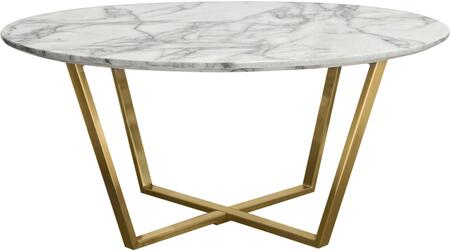 "Vida_Collection_VIDARCTMA_36""_Round_Cocktail_Table_with_Faux_Marble_Top__MDF_Material__Brushed_Gold_Metal_Frame_and_Contemporary_Style_in_White_and"