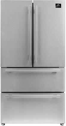 FFRBI1820-36SB 36″ Stainless Steel 4 Door French Door Refrigerator with 19.26 cu. ft. Capacity  Ice Maker  LED Lighting and Gallon