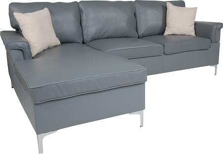 BT-S8375-SFCHSE-GRY-GG Boylston Upholstered Plush Pillow Back Sectional with Left Side Facing Chaise in Gray