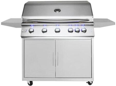 40″ Freestanding Natural Gas  Premier Grill with Cart  Rear Burner  72000 Total BTU  906 Total sq. inch Cooking Area  Full Width Slide-out Drip Tray