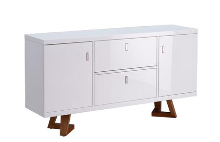 1692BUFFET 63″ Buffet with 2 Doors  2 Drawers and Wooden Construction in White Gloss