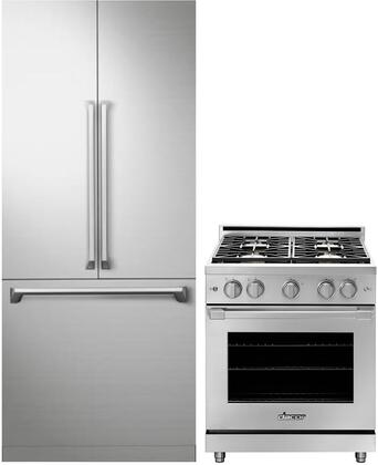 2 Piece Kitchen Appliances Package with DRF367500AP 36″ French Door Refrigerator and HGPR30SNG 30″ Gas Range in Stainless