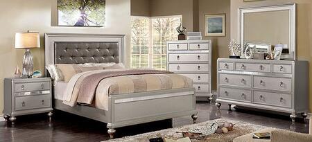 Furniture of America Avior CM7170SVTBEDNSCHDRMR Bedroom Set Silver, CM7170SV-T-BED-NSCHDRMR