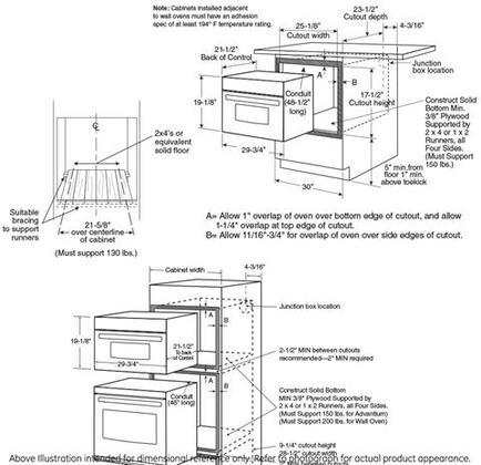 GE Profile Profile Advantium PSB9120 Single Wall Oven , Dimentions