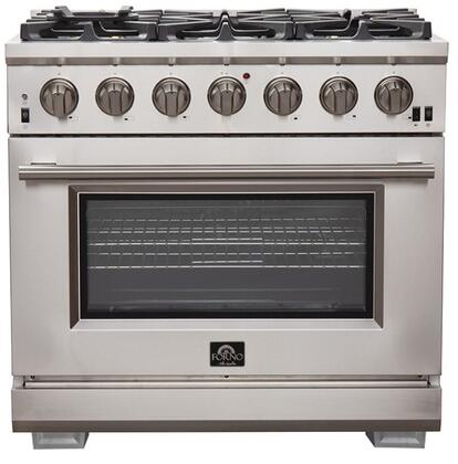 FFSGS6260-36 36″ Stainless Steel Pro-Style Natural Gas Range with 5.36 cu. ft. Capacity  6 Italian Defendi Brass Burners  Convection Fan and Cast