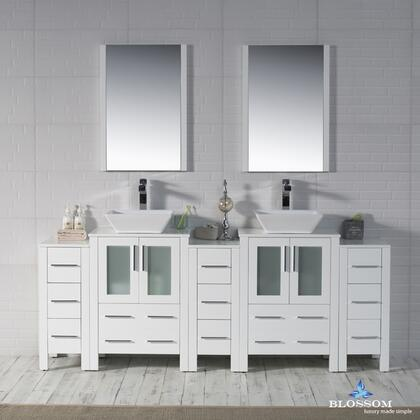 Sydney Collection 001 84 01 D 1616V SC  84″ Sink Vanity with Vessel Sink and Triple Side Cabinets in Glossy