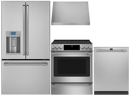 4 Piece Kitchen Appliances Package with CYE22TP2MS1 36″ French Door Refrigerator  CGB550P2MS1 30″ Gas Range  CVW93012MSS 30″ Pro Style Wall Mount