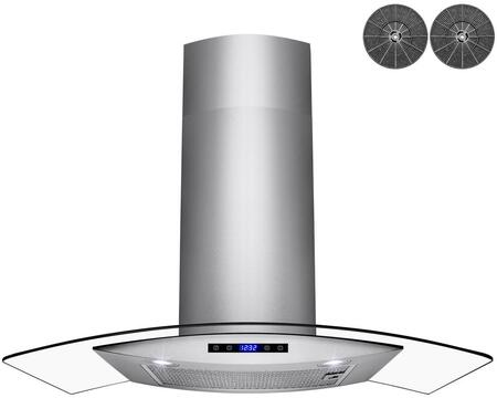 RH0453 30″ Convertible Wall Mount Range Hood with 299 CFM  LED Lighting  Mesh Filter  Carbon Filter and Touch Controls in Stainless