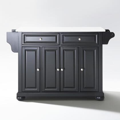 Alexandria Collection KF30005ABK Granite Top Island/Cart in Black