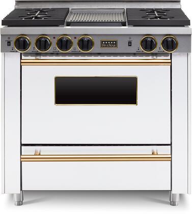 FiveStar  WTN3327SW Freestanding Gas Range White, WTN3327W Brass Trim Sealed Burner Gas Range