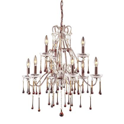 4013/6+3AMB Opulence 9-Light Chandelier in Rust with Amber
