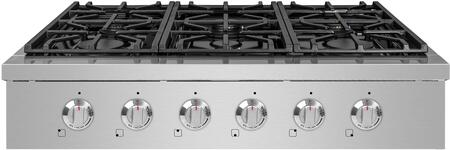 SCT3611 36″ Stainless Steel Gas Cooktop with 6 Burners  Black Porcelain Drip Pan and Automatic