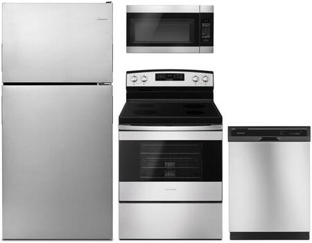 4 Piece Kitchen Appliances Package with ART318FFDS 30″ Top Freezer Refrigerator  AER6303MFS 30″ Electric Range  AMV2307PFS 30″ Over the Range