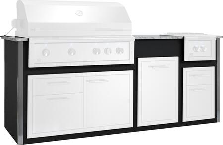 """XOGOK42V1BL 93"""" Appliance Ready Pre-Assembled Designer Island for 42"""" Grill in Black (Grill and Other Appliances Sold"""
