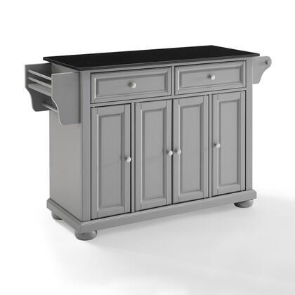 Alexandria Collection KF30204AGY Granite Top Kitchen Island/Cart in Gray