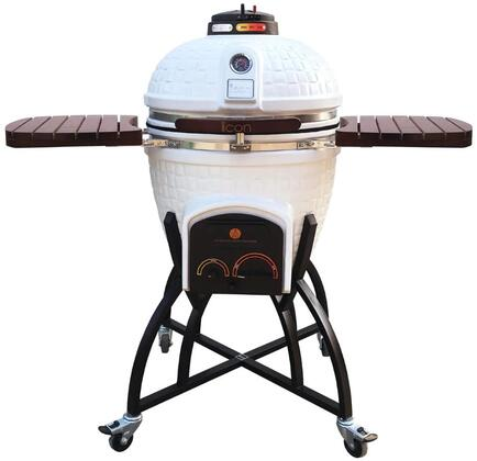 CG401WHITE 52″ 400 Series Kamado Grill on Oversized Cart with 604 sq. in. Grilling Area  Electric Starter Port  Color-Coded HeatZone Controls and