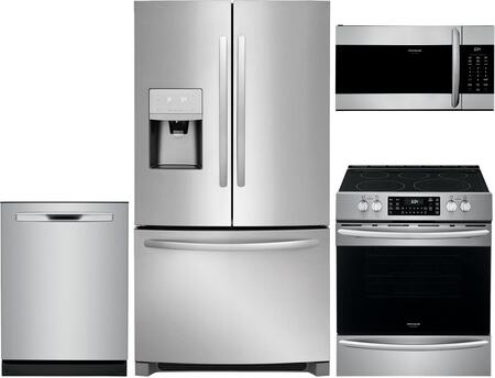 4 Piece Kitchen Appliances Package with FFHD2250TS 36″ French Door Refrigerator  FGEH3047VF 30″ Slide-in Electric Range  FGMV176NTF 30″ Over the