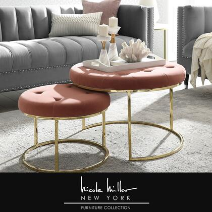 Aaden Collection NON106-02BH-AC Ottoman with Glam Style  Stainless Steel Polished Base and Velvet Upholstery in Blush and Gold