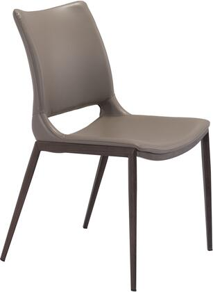 Zuo Ace Series 101282 Dining Room Chair Gray, 101282 Front