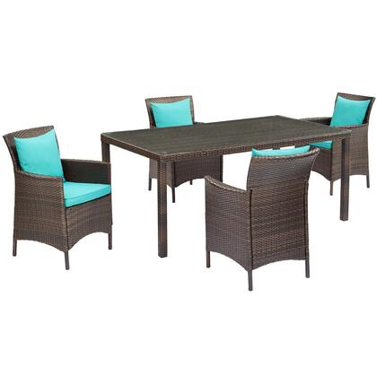 Conduit Collection EEI-3892-BRN-TRQ-SET  5 Piece Outdoor Patio Wicker Rattan Set with Powder-Coated Aluminum Frame  Synthetic PE Rattan Weave and