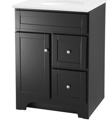 Worthington WREA2421D 24″ Vanity with Satin Nickel Knobs  Solid Wood Drawers and Closed Arched Toe Kick in