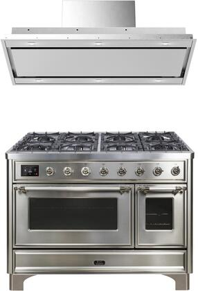 2 Piece Kitchen Appliances Package with UM12FDNS3SSC 48″ Dual Fuel Gas Range and VERTICE48 48″ Mount Convertible Hood in Stainless