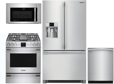 4 Piece Kitchen Appliances Package with FPBS2778UF 36″ French Door Refrigerator  FPGH3077RF 30″ Gas Range  FPBM307NTF 30″ Over the Range Microwave