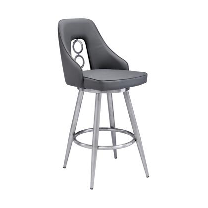 LCRUBABSGR30 Ruby Contemporary 30″ Bar Height Barstool in Brushed Stainless Steel Finish and Grey Faux