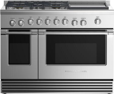 Fisher Paykel Professional RGV2485GDLN Freestanding Gas Range Stainless Steel, Front view