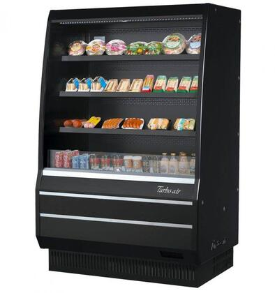 Turbo Air TOM50MBSPAN Display and Merchandising Refrigerator Black, TOM50MBSPAN Angled View
