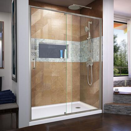 DL-6223R-04 Flex 32″ D x 60″ W x 74 3/4″ H Semi-Frameless Shower Door in Brushed Nickel with Right Drain White Base