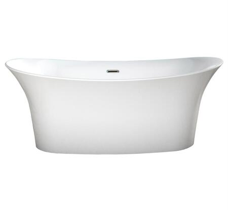 BT-1088-WHT Cyclone Collection 66″ Bathtub with Acrylic Material  Freestanding Design  Oval Shape  Drain Included and Overflower Integrated  in