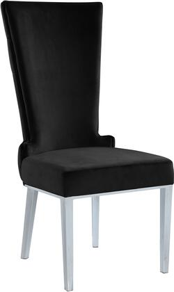 Serafina 729BLACK-C 37″ Dining Chair (Set of 2) with Button Tufting  Rich Chrome Metal Legs and Velvet Upholstery in