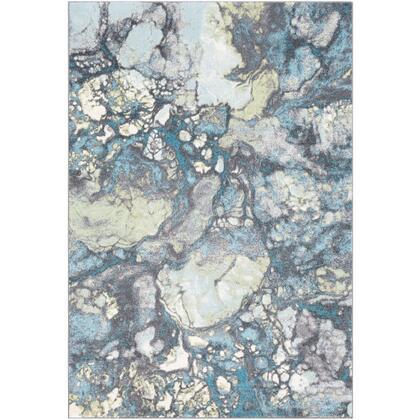 Aberdine ABE-8014 6'7″ x 9′ Rectangle Modern Rugs in Aqua  Teal  Olive  Medium Gray
