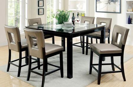 Furniture of America Evant II CM3320PT6PC Dining Room Set Black, main image