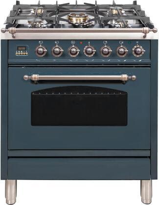 Ilve Nostalgie UPN76DMPGUY Freestanding Dual Fuel Range Blue Grey, Blue Grey Dual Fuel Range