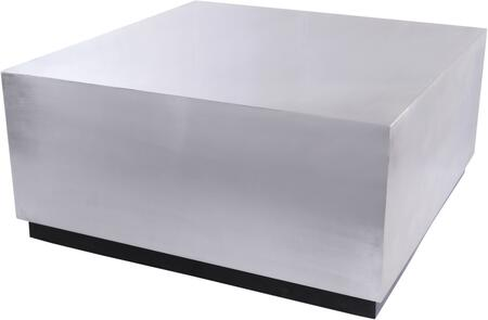 Valle 277-C 36″ x 36″ Coffee Table with Brushed Chrome Metal Top and Matte Black