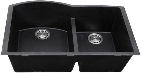 PR6040-BL-UM Plymouth Collection Sink 33″ Undermount Sink with Double Bowls  Sound Absorption  Scratch Resistant and Heat Resistant  in