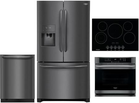 4 Piece Kitchen Appliances Package with FGHB2868TD 36″ French Door Refrigerator  FGEW3066UD 30″ Electric Single Wall Oven  FGEC3068UB 30″ Electric