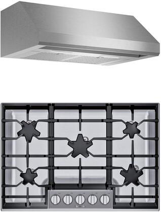 2 Piece Kitchen Appliances Package with SGSXP305TS 30″ Gas Cooktop and HMWB30WS 30″ Wall Mount Convertible Hood in Stainless