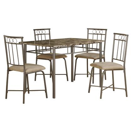 332573 5 Piece Dining Set with Foam Filled Cushions  Contemporary Style  Microfiber Seat Upholstery and Medium-Density Fiberboard (MDF) in Cappuccino