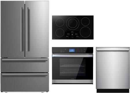 4 Piece Kitchen Appliances Package with SJG2351FS 36″ Counter Depth 4 Door French Door Refrigerator  SWA3052DS 30″ Electric Single Wall Oven